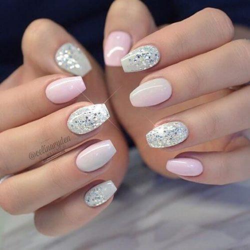 stunning bello diseo de uas decoradas con esmalte rosa y plateado with uas decoradas gel with uas de gel decoradas - Diseo De Uas De Gel