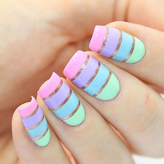 Decoración de uñas con lineas diseños fáciles de hacer
