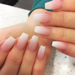 white powder acrylic nails Wonderful 260 best Pink and White Nails images on Pinterest